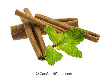 Cinnamon and fresh mint leaves - Cinnamon and mint macro...