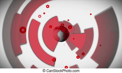 Earth spinning with red cells emulating from it on white...