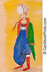 man in traditional Turkish dress - historical clothes - man...