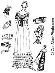 18th-century women accessories - historical costume - set of...
