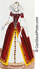 royal costume in France late 16th century - historical...
