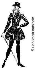 strict formal royal dress - historical costume - strict...