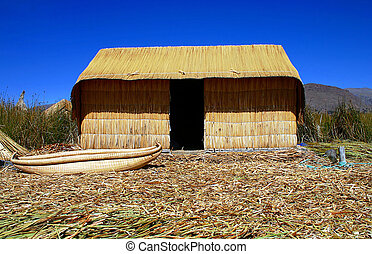 Reed hut on Lake Titicaca, Peru