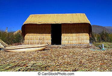 Reed hut on Lake Titicaca, Peru