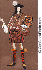 Scottish grandee in 17th century - historical costume -...