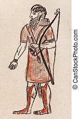 Assyrian and Babylonian warrior - historical costume -...