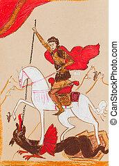 Russian Knight in a red cloak
