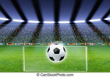 Soccer ball, stadium, spotlights - Abstract soccer stadium,...