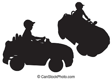 """Silhouettes of small boy """"driving"""""""