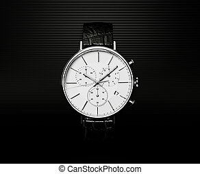 watch - modern watch isolated on a black  background