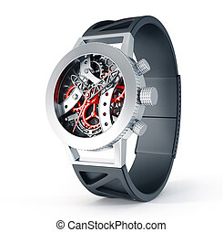 skeleton watch - modern watch isolated on a white background...