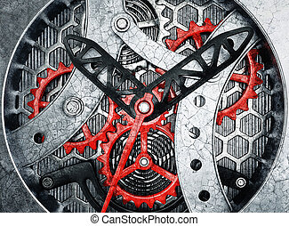 skeleton watch - wintage watch mechanism. 3d in hight...