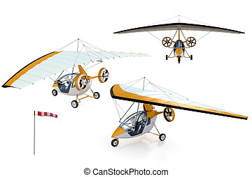 Composite of Robots flying in an Ultralight - 3D composite...