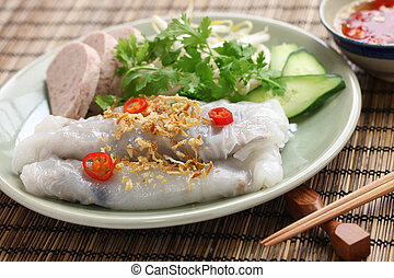 vietnamese steamed rice noodle roll - banh cuon, vietnamese...
