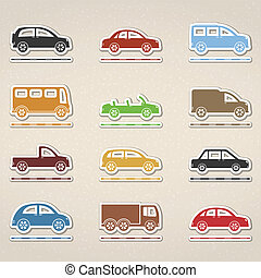 Set of icons of cars, vector eps10 illustration