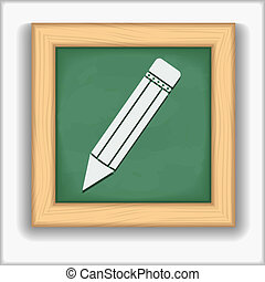 Blackboard with icon of a pencil