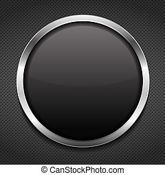 Round frame on metal background, vector eps10 illustration