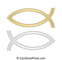 Christian fish icon in silver and gold vector texture -...