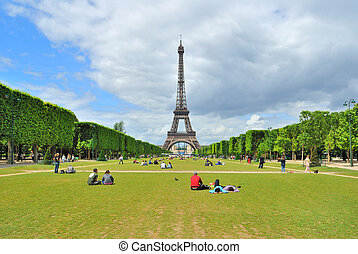 Paris. Champ de Mars - Paris. View of Champ de Mars and the...