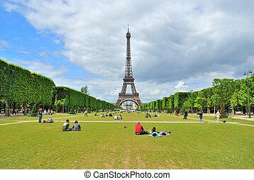 Paris. Champ de Mars - Paris. View of Champ de Mars and the...