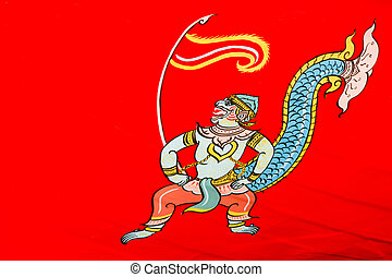 hanuman painting - art style of thai people