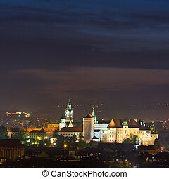 Night scene in Krakow, Poland