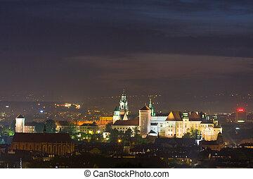 Night scene in Krakow, Poland
