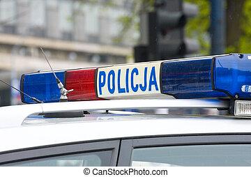 polaco, policía, señal, puerta, policía, coche