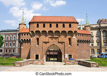 gate to Krakow - the best preserved barbican in Europe,...