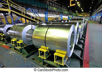 rolls of steel sheet in a plant - rolls of steel sheet...