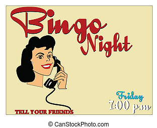 bingo night announcement and lady on phone calling her...