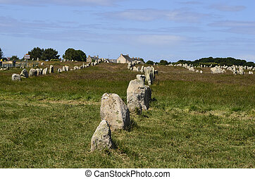 France, Carnac - megalith stones in Carnac, France,