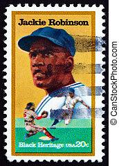 Postage stamp USA 1982 Jackie Robinson, Baseball Player -...