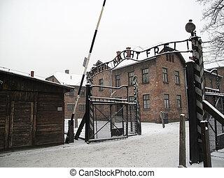 Arbeit macht frei - Gate to Auschwitz concentration camp in...