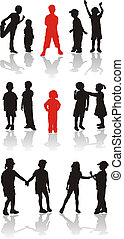 Silhouette girls and boys, vector graphics, illustrations