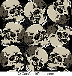 Seamless Background With Skulls - Seamless background with...