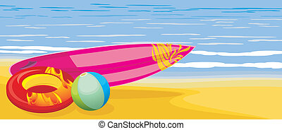 Surf board, beach ball and mattress - Surf board, beach ball...