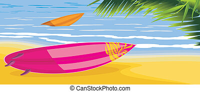 Surf boards on the seascape with palm tree. Vector...
