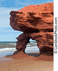 Seaview, piaskowiec, łuk, czerwony