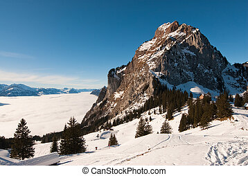 Mythen - Grosser Mythen mountain peak in winter, Schwyz,...