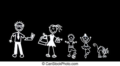 cartoon family on black - a cartoon rendered family isolated...