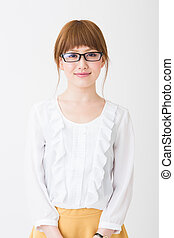 woman who wore glasses - Beautiful young asian woman who...