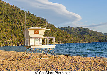 Sand Harbor Life Guard Station At Sunset - Lifeguard Station...