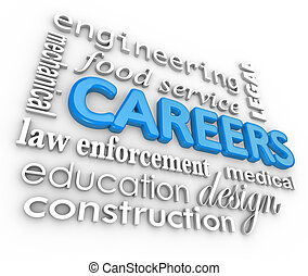 Careers Word Background Jobs 3d Choose Profession - The word...