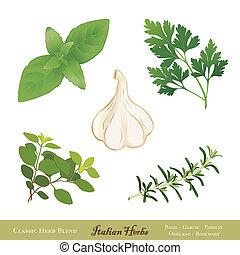 italiano, hierbas, cocina