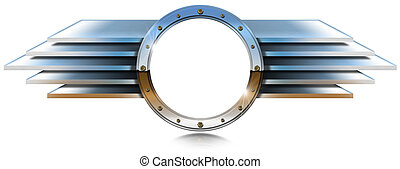 Metallic Porthole with Metal Wings - Metal chrome porthole...