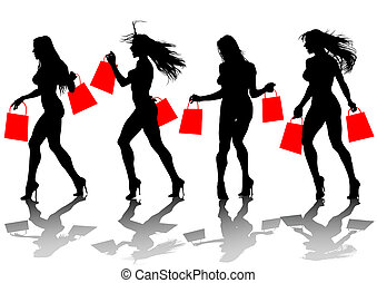 Girl with shopping bags - Vector drawing of a young girl...