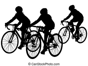 Group of cyclists - Vector drawing of a group of cyclists in...