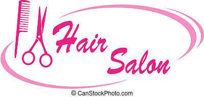 hair salon sign with pink scissors and hairdresser comb