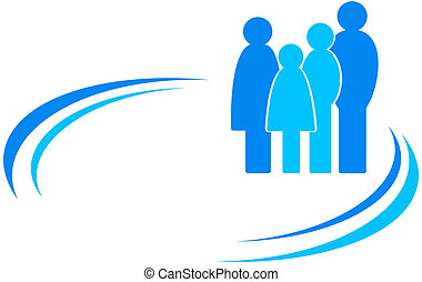 icon with family and design element - blue icon with family...